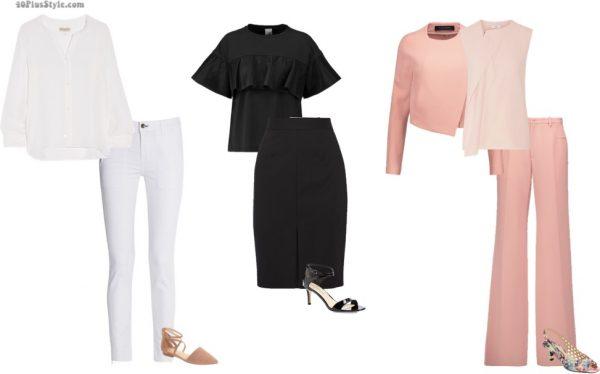 monochromatic white pants black skirt pink top slimmer | 40plusstyle.com