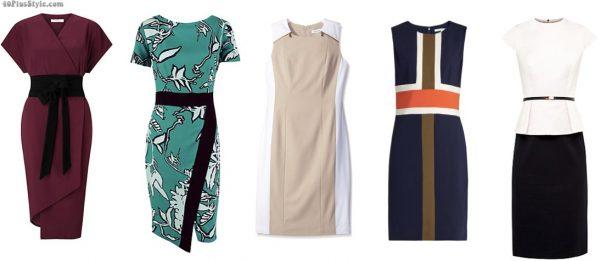 colorblock dress sheath wrap belted slimmer | 40plusstyle.com