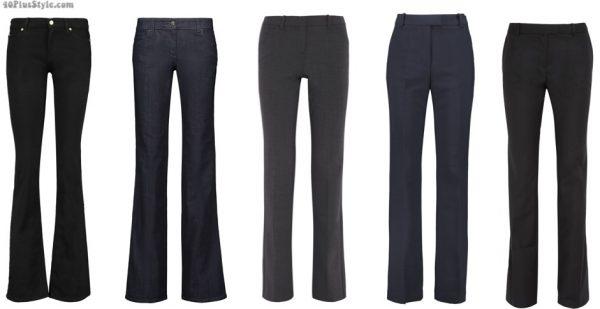 dark pants trouser jeans bootcut straight leg slimmer | 40plusstyle.com