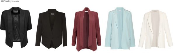 open front blazers black red blue white slimmer | 40plusstyle.com