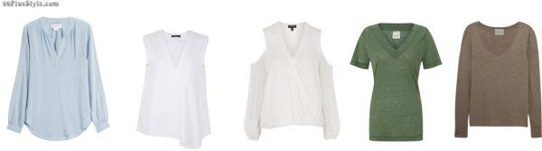 v-neck cold shoulder sweater blouse slimmer | 40plusstyle.com