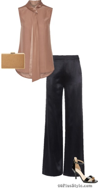 elastic waistband silk blouse wide leg pants heels clutch box | 40plusstyle.com