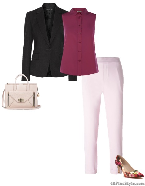 elastic waistband office looks flora pumps black blazer | 40plusstyle.com