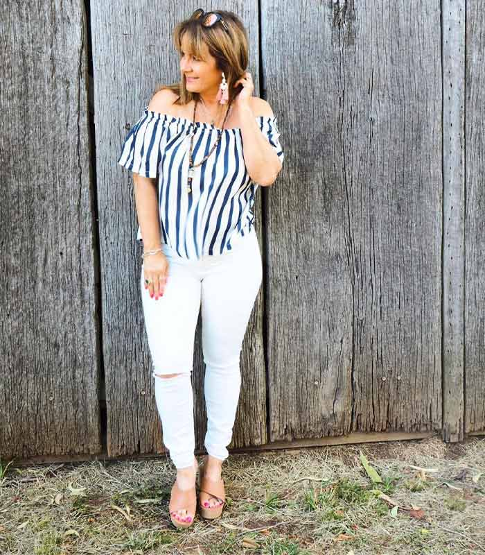 #40plusstyle inspiration: styling off shoulder tops!