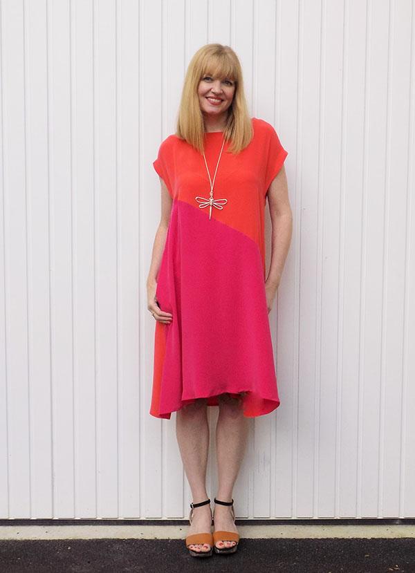 two tone fuschia and orange dress  40plusstyle.com