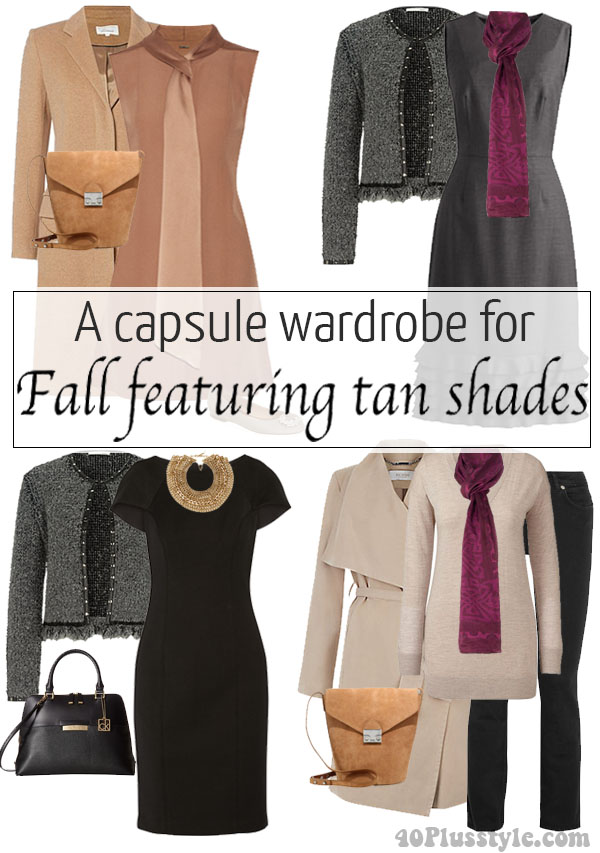 A capsule wardrobe for fall featuring tan shades | 40plusstyle.com