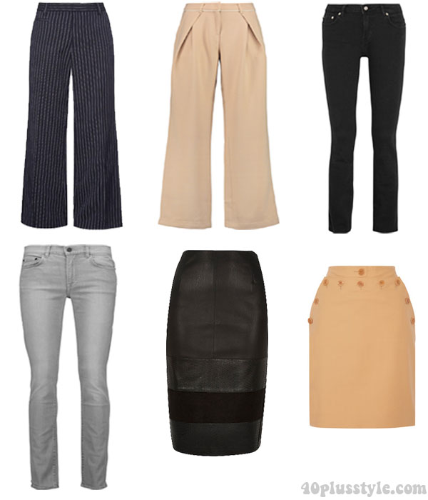 A capsule wardrobe for fall featuring tan shades: bottoms, pants and jeans ideas  40plusstyle.com