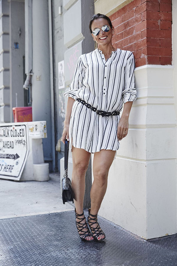 Casual and outfit idea: Striped shirt dress with cage boot heels on the streets of DC   40plusstyle.com