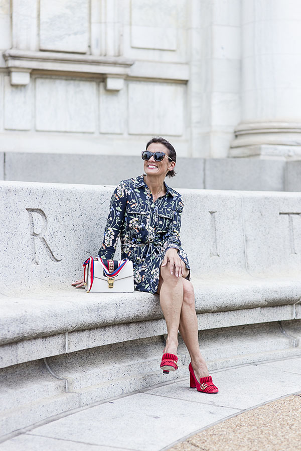 Chic outfit idea: Floral dress and red suede shoes | 40plusstyle.com