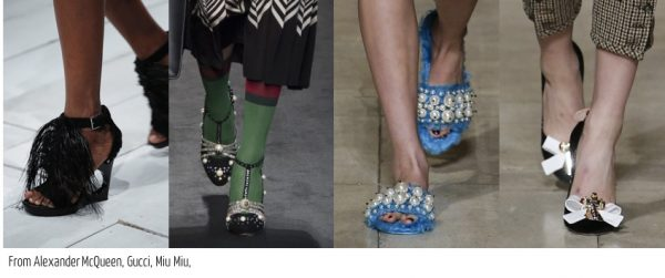 Fall shoe 2016 trends: embellished shoes by Alexander Mcqueen and Miu Miu | 40plusstyle.com