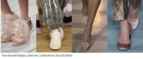 Fall shoe 2016 trends: blush pink and feather heels by Alexander Mcqueen, Carolina Herrera, and Oscar de la renta| 40plusstyle.com