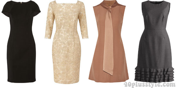 A capsule wardrobe for fall featuring tan shades: dresses | 40plusstyle.com
