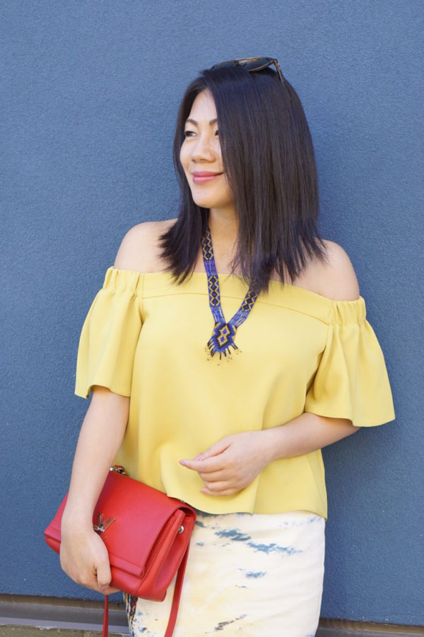 Petite women's fashion: colorful style and an off-shoulder top | 40plusstyle.com