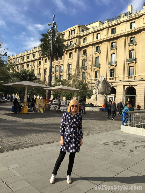 What I wore in Santiago: Kenzo tunic and black bottoms | 40plusstyle.com