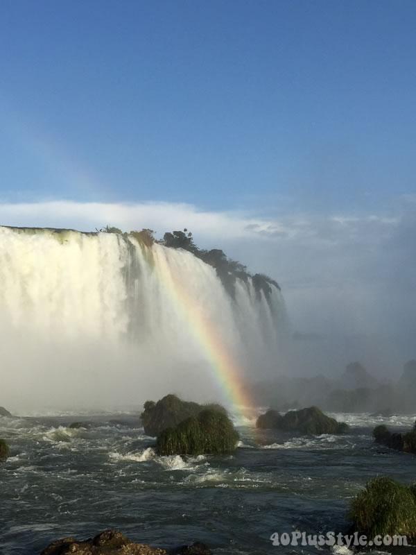 Travel diary: a rainbow by Iguazu Falls, Brazil | 40plusstyle.com