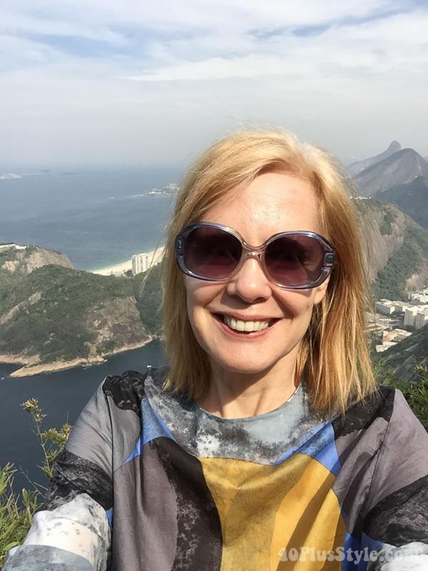 What I wore to Rio de Janeiro: mixed print top and sunglasses | 40plusstyle.com