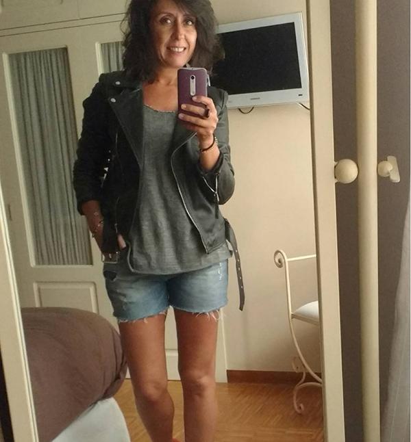 #40plusstyle inspiration: leather jacket with denim shorts   40plusstyle.com