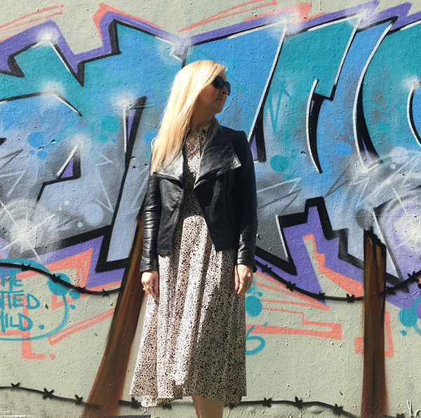 #40plusstyle inspiration: leather jacket styled with long dress   40plusstyle.com