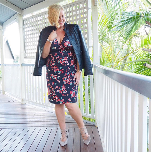 #40plusstyle inspiration: leather jacket styled with a floral dress   40plusstyle.com