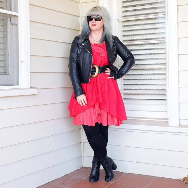 #40plusstyle inspiration: ideas on how to style a leather jacket with a dress and boots   40plusstyle.com