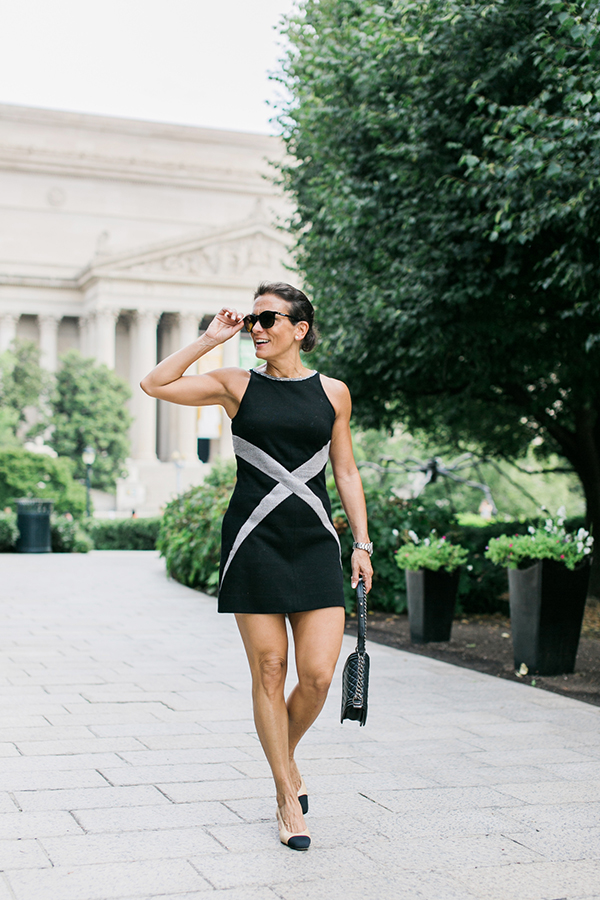 Modern style inspiration: Pair your black dress with nude sling back heels   40plusstyle.com