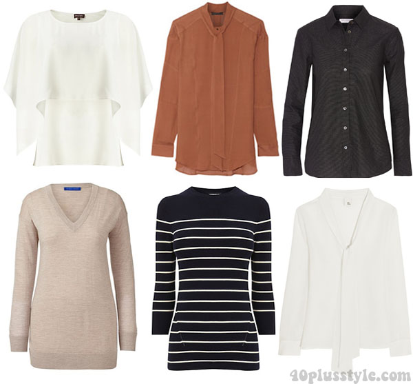 A capsule wardrobe for fall featuring tan shades: tops and sweaters ideas   40plusstyle.com