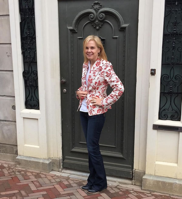 Paige jeans with flower patterned blazer | 40plusstyle.com
