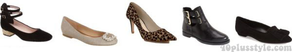 A capsule wardrobe for fall featuring tan shades: animal print shoes and black heels| 40plusstyle.com