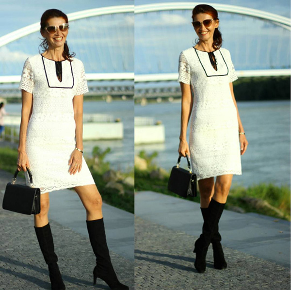 #40plusstyle inspiration: White and black laced dress | 40plusstyle.com