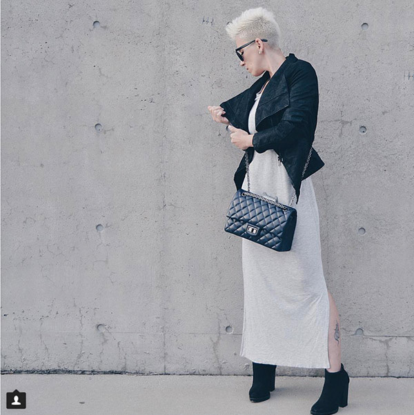 #40plusstyle inspiration: Black leather jacket with a white dress| 40plusstyle.com