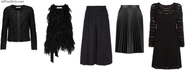 How to wear black over 40: black outfit pieces with textures | 40plusstyle.com