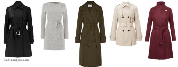 The best coats for fall: belted trench coats| 40plusstyle.com