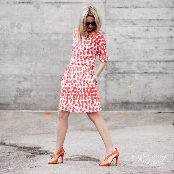 Vibrant fashion: red patterned dress   40plusstyle.com