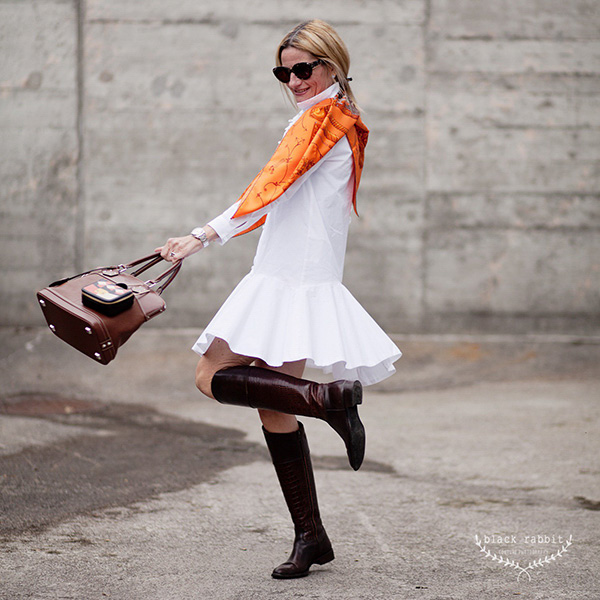 Chic and mod outfit ideas: White Zara dress with a scarf and high cut boots   40plusstyle.com