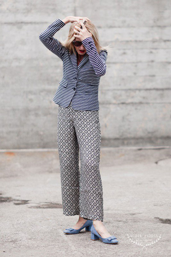 Eclectic style: mixing prints: stripes and floral designs   40plusstyle.com