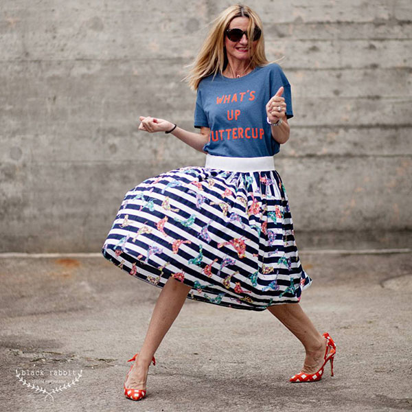 Fun and quirk fashion outfit: striped skirt and polka dotted shoes   40plusstyle.com