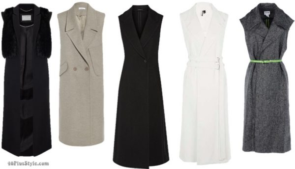 The best coats for fall: sleeveless wool coats | 40plusstyle.com