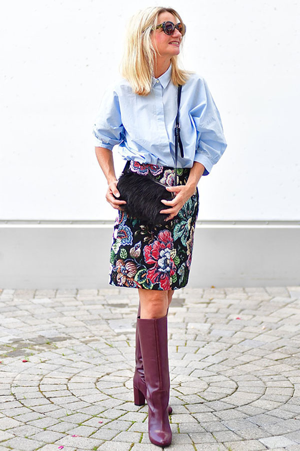 Fall trend outfit idea: Embroidery skirt   40plusstyle.com