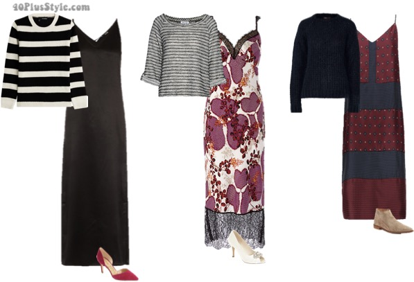 7 different ways to wear a slip dress this fall | 40plusstyle.com