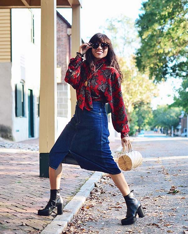 40plusstyle inspiration: chunky boots and a denim skirt outfit idea | 40pplusstyle.com