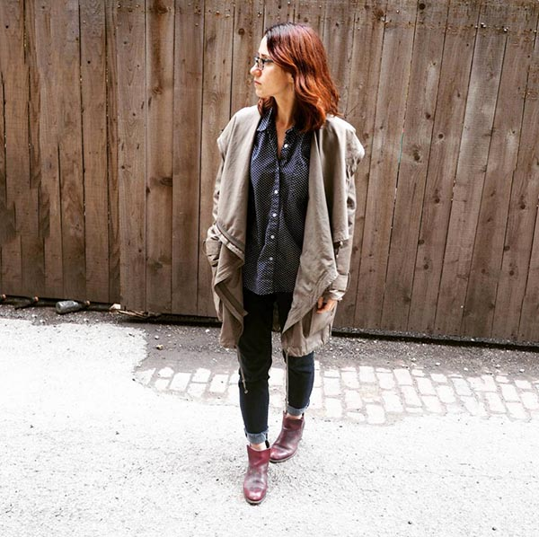 40plusstyle inspiration: Red boots with a brown jacket for fall | 40pplusstyle.com