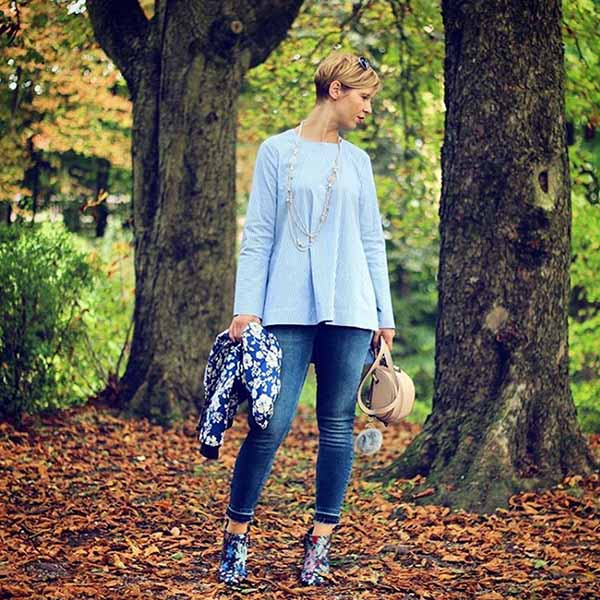 40plusstyle inspiration: Floral boots witha a blue top | 40pplusstyle.com