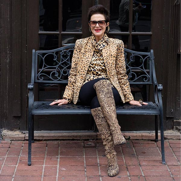 40plusstyle inspiration: animal print outfit and boots | 40pplusstyle.com