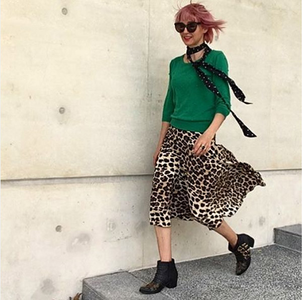 40plusstyle inspiration: buckled boots with an animal print skirt outfit idea| 40pplusstyle.com