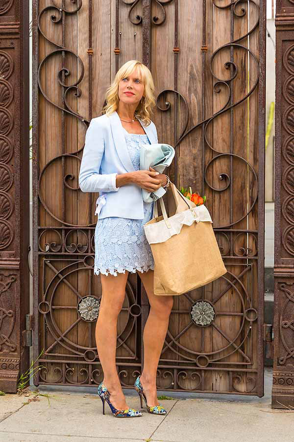 City style: Lace blue romper | 40plusstyle.com