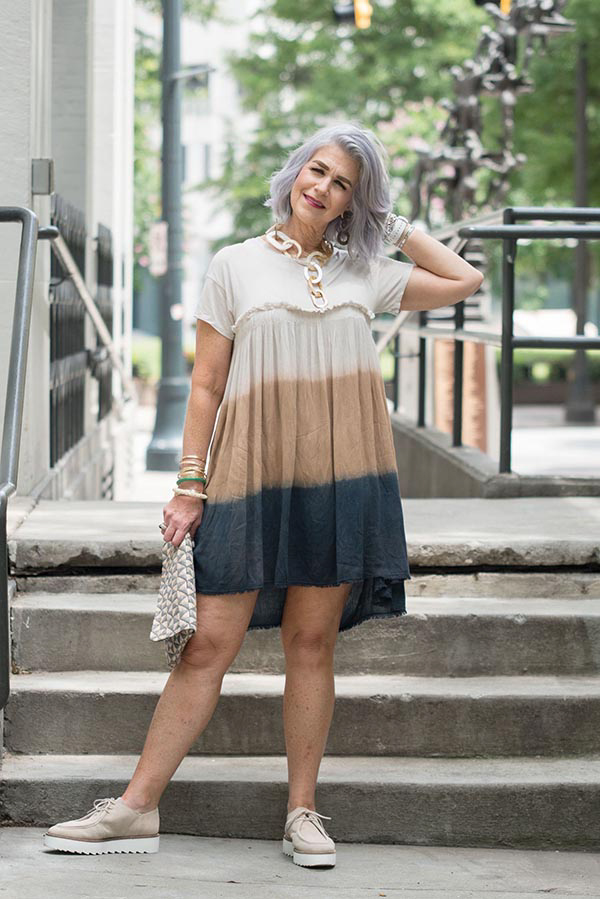 Neutral dyed dress with accessories | 40plusstyle.com