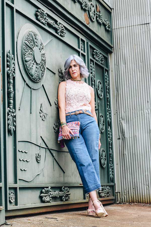 Lace top with jeans outfit | 40plusstyle.com