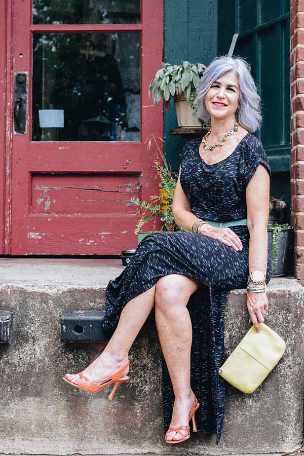 Orange heels with a black dress | 40plusstyle.com