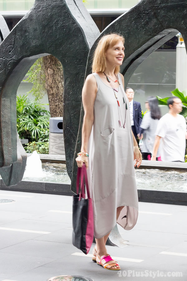 silver gray dress with colorful accessories | 40plusstyle.com