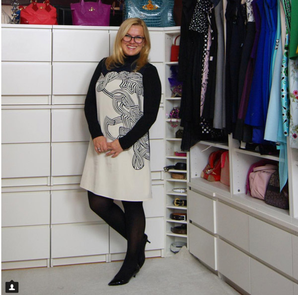 #40plusstyle inspiration: black and white dress with leggings | 40plusstyle.com